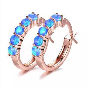 18k rose gold blue fire opal pierced hoops NWB